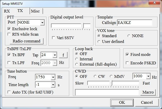 Ajustes control TX-RX
