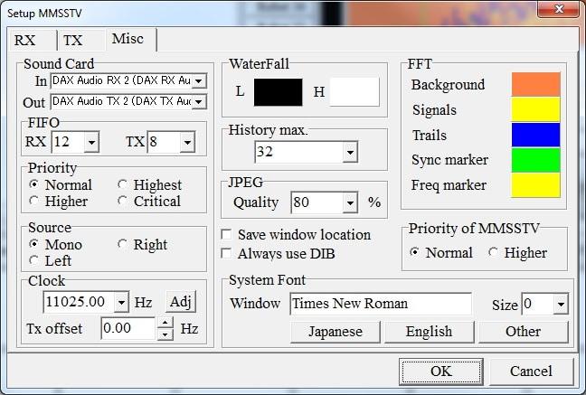 MMSSTV configuración tarjeta de sonido